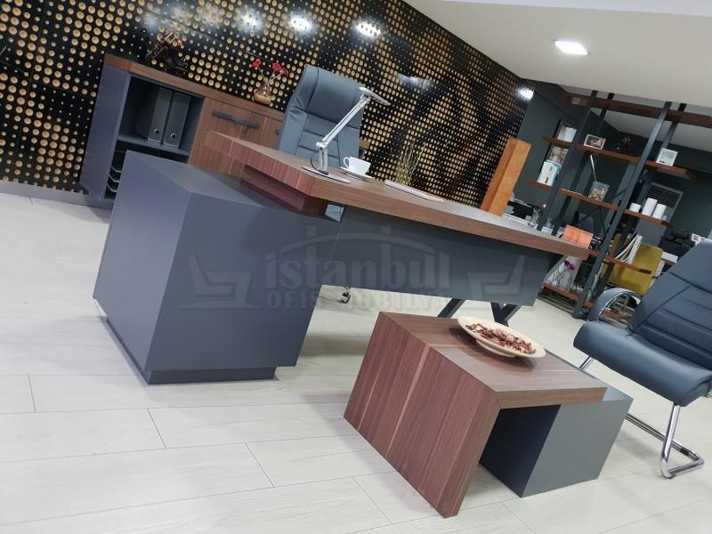 İstanbul Ofis Mobilyası Makam Takımı Captiva - V.Ceviz Antrasit